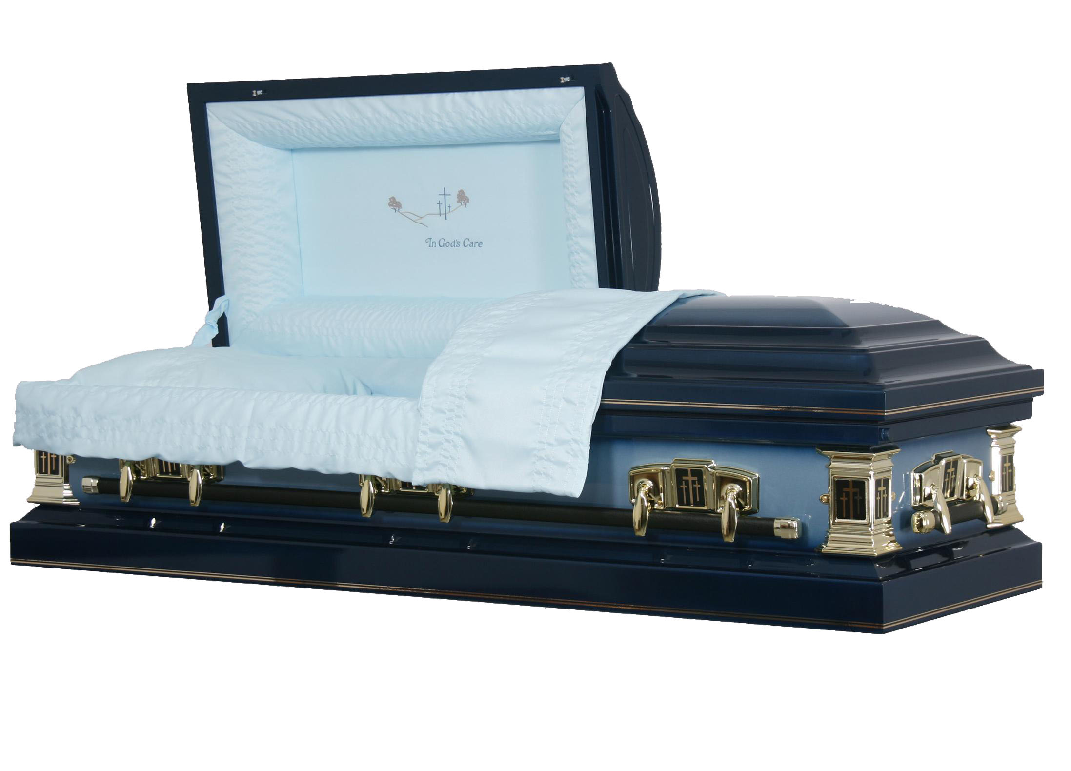 18g metal casket in blue
