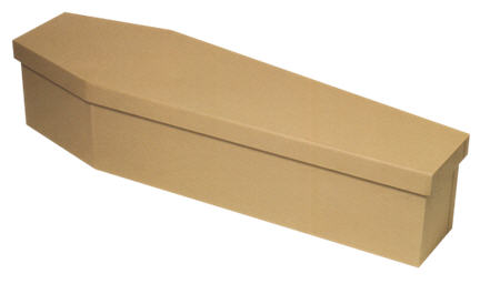 cardboard coffin for cremation or burial