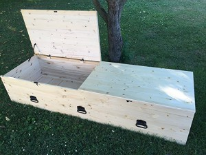 Hand made pine coffins are biodegradable, affordable and available for purchase on Amazon.com