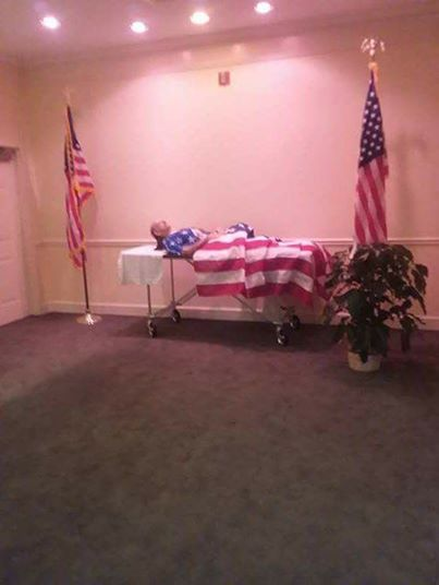 Vietnam Vet laid out for a viewing without a casket